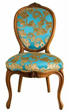 Turquoise and gold chair.