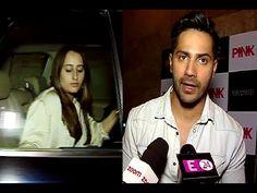 Varun Dhawan with girlfriend Natasha Dalal watched PINK movie at Light Box theatre.