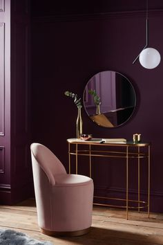 Buy John Lewis & Partners + Swoon Olive Cocktail Chair, Ballet Pink Velvet from our Armchairs range at John Lewis & Partners. My Living Room, My Room, Marble Console Table, Purple Interior, Purple Walls, Upholstered Furniture, Online Furniture, Home Interior Design, Modern Interior