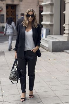 Emilie Tømmerberg in Lexington Caileigh Leather Pants, Badette Smoking Jacket, and Alina Tee, on Fashion Week Stockholm. Find them this fall on www.lexingtoncomp....