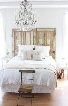 Doors as headboard/wall art.  We are definitely doing this after we repaint the bedroom next year!
