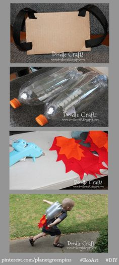 #EcoArt #DIY project of the week: Have fun with your kids this weekend! All you need is cardboard, webbing, spray-painted two-liter bottles and some felt.