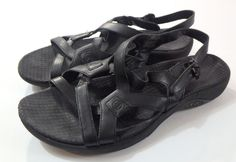 2eeb35a52812 Women s Merrell Agave Black Leather Sandals Size 8 VGUC Summer Strappy  Sporty  Merrell  Strappy