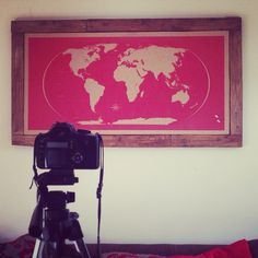 Red silk-screen printed meticulously designed World Map Pin-board with mahogany stained rustic wooden frames.