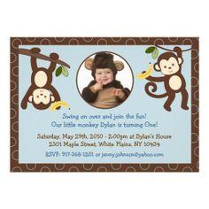 Monkey Jungle Custom Photo Birthday Invitations