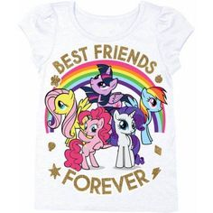My Little Pony Toddler Girl Best Friends Forever Short Puff Sleeve Graphic T-Shirt, Size: 5 Years, White