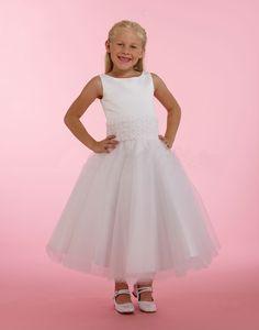 Girls Designer Dresses, White Flower Girl Dresses, White Satin, Rosettes, Bodice, Gowns, Couture, Band, Wedding Dresses
