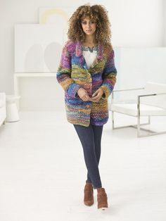 Calypso Cardigan in Lion Brand Vanna's Style & Color Waves FREE Knitting Pattern - L60037 - Downloadable PDF