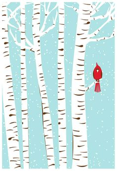 Image of Winter Cardinal We love these fun posters for kids rooms!