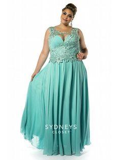 acae1df58d1 Sydney s Closet Plus size Prom Dresses A line Scoop Chiffon Lace Appliques  Pleat Beads Floor Length 2015 Aqua Formal Evening Gowns