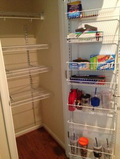converting a small coat closet to a pantry   Transformed small coat closet to have a pantry. Much needed!!!!!