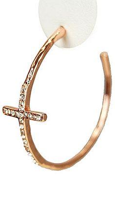 Rose gold hoop with crystal cross. $19 www.shopbluedoor.com #shopbluedoor