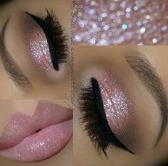 31 Beautiful Wedding Makeup Looks for Brides Pink Glitter Eyes + Pink Lips Glitter can be a girl's best friend, especially on her wedding day. Wedding Makeup For Brunettes, Wedding Eye Makeup, Makeup For Blondes, Prom Makeup, Hair Makeup, Hair Wedding, Wedding Nails, Glitter Wedding, Makeup Hairstyle