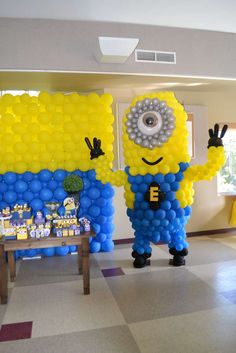 Balloon Minion at a Despicable Me birthday party! See more party planning ideas at CatchMyParty.com!