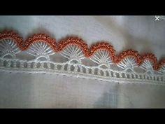 Kalem Oyası Yapımı - YouTube Crochet Edging Patterns, Crochet Lace Edging, Crochet Borders, Crochet Poncho, Crochet Designs, Crochet Doilies, Basic Embroidery Stitches, Needle Lace, Tatting