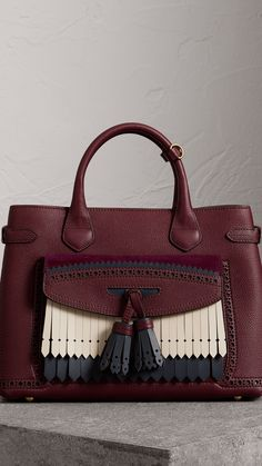 The Medium Banner in Leather with Fringed Pocket in Mahogany Red - Women | Burberry United States