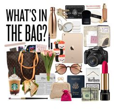 """""""What's in my bag?"""" by rocio-hidalgo-garnica ❤ liked on Polyvore featuring S'well, Muji, Madewell, Yves Saint Laurent, Royce Leather, Oasis, SO, Sia, Equipment and NARS Cosmetics"""