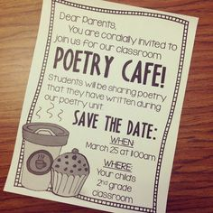 Have a poetry slam in your classroom! Get this free editable invitation for parents!