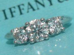 Tiffany Co Three Stone Engagement Diamond Ring Certificate Appraisal Size 4   eBay