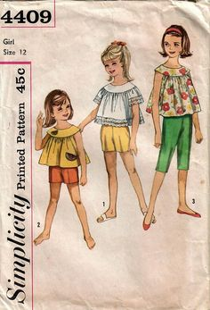 1960s Simplicity 4409 Vintage Sewing Pattern Girls Clam Digger
