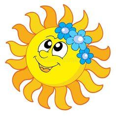 Illustration of Smiling Sun with flowers - vector illustration. vector art, clipart and stock vectors. Free Clipart Images, Art Clipart, Vector Art, Sun Clip Art, Ios Emoji, Sun Painting, Good Day Sunshine, Smileys, Baby Room Design