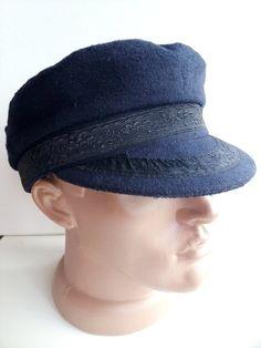 dabe082496cc8 Navy blue Fiddler Caps Wool Greek fisherman hat Black baker boy hat newsboy  Driving cabbie cap