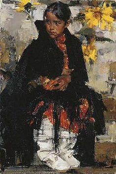 Nicolai Ivanovich Fechin (Russian/American,1881 -1955) - Indian girl with sunflowers