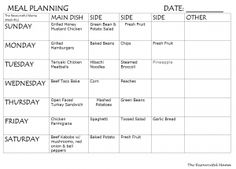 weekly meal plan #12 Free printable meal plan for dinner sides included
