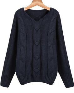 Shop Navy V Neck Long Sleeve Cable Knit Sweater online. Sheinside offers Navy V Neck Long Sleeve Cable Knit Sweater & more to fit your fashionable needs. Free Shipping Worldwide!