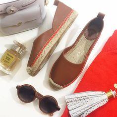 Cognac Leather Espadrilles Details: • Size 7 • Cognac leather • Red orange trim • Brand new in box  03241604 French Connection Shoes Espadrilles
