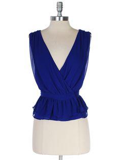 Cobalt Blue Chiffon Wrap Front Double Layer Peplum Top