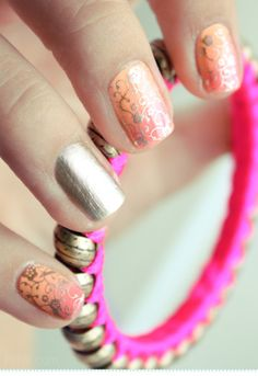 Bronze-ish Intricate Sharpie Designs over Colorful Ombre Nails - perfect for summertime!!