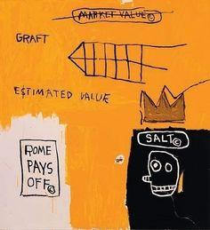 """Jean-Michel Basquiat, """"Rome pays off"""",  Sérigraphie en couleurs,  111 x 100 cm,  Edition de 85 exemplaires  Oeuvre numérotée, encadrée et signée    Des parts de cette oeuvre sont encore disponibles sur   http://www.myartinvest.com"""