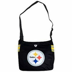"""Pittsburgh Steelers NFL Mvp Jersey Tote Purse by Caseys. $27.95. When you want first class you want this MVP Jersey Tote Purse. Made from authentic jersey-style material and featuring such luxuriant details as a zipper closure an oversized tackle twill appliqued logo and a faux v-neck collar.There are two interior pockets:one large zippered pocket and one smaller open pocket.The adjustable strap extends to 45"""" so the tote can be worn over the shoulder or cross body.The p..."""