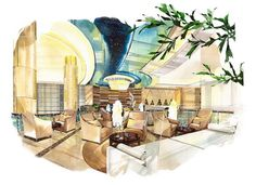 Grand Four Wings Convention Hotel Architecture Design Concept, Detail Architecture, Architecture Drawing Plan, Architecture Drawing Sketchbooks, Interior Architecture, Bank Interior Design, Interior Design Renderings, Interior Rendering, Interior Sketch