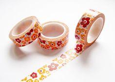 Flowers Washi Tape  Retro Flowers Washi Tape  by pinkdotsetc