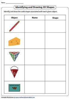 Identifying and Drawing 3D Shapes in Real-Life Objects Introduction To Geometry, Geometry Worksheets, 3d Figures, 3d Shapes, Maths, 3 D, Real Life, Objects, Drawing