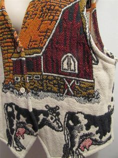 Cow and Farm themed Tapestry Vest 100% cotton Button Up USA L large unique Vtg #ClassicsbySimplyCountry