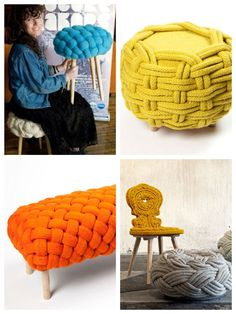 Discover thousands of images about This looks like some funky fast knitting from Scandinavia. Diy And Crafts, Arts And Crafts, Knot Pillow, Sewing Projects, Diy Projects, Deco Boheme, Yarn Bombing, Arm Knitting, Crochet Home