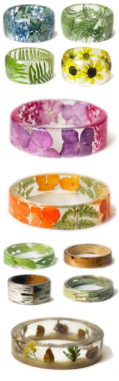New Handmade Resin Bracelets Embedded with Flowers and Plants by Sarah Smith - DIY Jewelry Simple Ideen Resin Jewlery, Resin Bracelet, Resin Ring, Jewelry Rings, Jewelry Accessories, Jade Jewelry, Flower Jewelry, Leather Accessories, Boho Jewelry