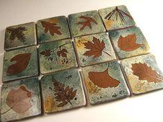 """6 """" Backsplash Ceramic Tile Coaster Tile in """"Green Leaf"""" Glaze you pick the leaf on Etsy, $25.00"""