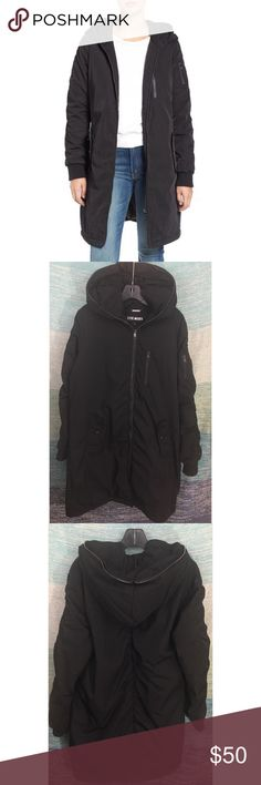 """Steve Madden Black Ruched Hooded Parma Coat Long New without tags.   A longline parka gets a modern makeover with ruched detailing in back and a gleaming front zipper that extends to the top of the hood. A host of pockets is perfect for storing your valuables and ribbed cuffs make sure that you keep protected from the winter cold. 36"""" Long, 46"""" bust.  Front zip closure Long sleeves with ribbed cuffs Front snap-flap pockets; zip chest and sleeve pockets Fully lined 100% polyester Machine wash…"""