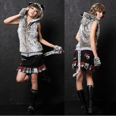 White Wool Blend Animal Print Hooded Emo Punk Vest Waistcoat Women Men SKU-11401253