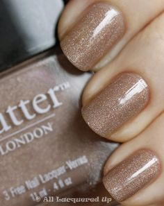 Sparkly nude polish. Ooooh, pretty!