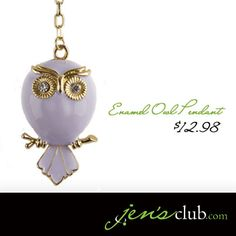 "Enamel Owl Pendant From Regal      Beautiful enameled owl pendant with glass rhinestone eyes. Unique chain keeps pendant centered for flawless style. (20""L plus 2"" extender)  Product Number - JC1018"