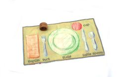 Montessori Placemat - Place setting placemat - Napkin Ring Set - Waldorf Home school - Preschool Table Setting - Placesetting placemat Preschool Tables, Felt Stories, Flannel Boards, Natural Toys, Montessori Toys, Montessori Materials, Gift Wrapping Services, Babies First Christmas, Child Life