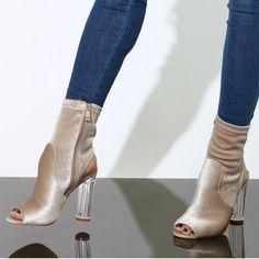 d69c783d4 Pink Velvet Lucite Chunky Heels. Jeans With HeelsBeautiful ShoesUnique ...