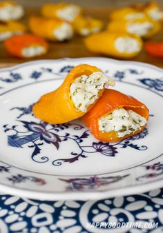 mini bell peppers stuffed with herbed goat cheese.