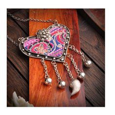 National Embroidery Miao Silver Pendant Old Miao Embroidery Manual Vintage Oranment Necklace Pendant Heart Shape