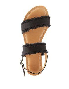 Frayed Denim Slingback Sandals | Charlotte Russe